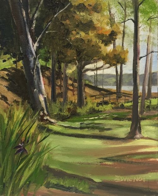Oil painting of the brook line and shadow patterns at Lincoln Park in Valparaiso, FL