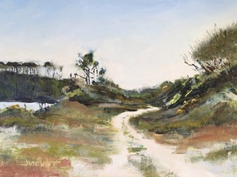 Come Walk With Me -- Oil painting of the trail from the hammock between Western lake and the Gulf of Mexico, in Grayton Beach State Park - Joan Vienot