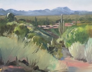 Oil painting of the desert countryside outside Tuscon, Arizona