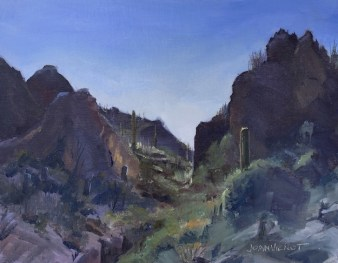Oil painting of a mountain ravine at Picacho Peak State Park, in Tucson, AZ