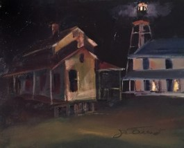 Nocturne oil painting of the Cape San Blas lightkeepers cottages and lighthouse, relocated to Port St. Joe, FL, painted en plein air
