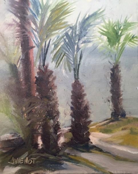 Oil painting of misty palms in Marler's Park, painted en plein air