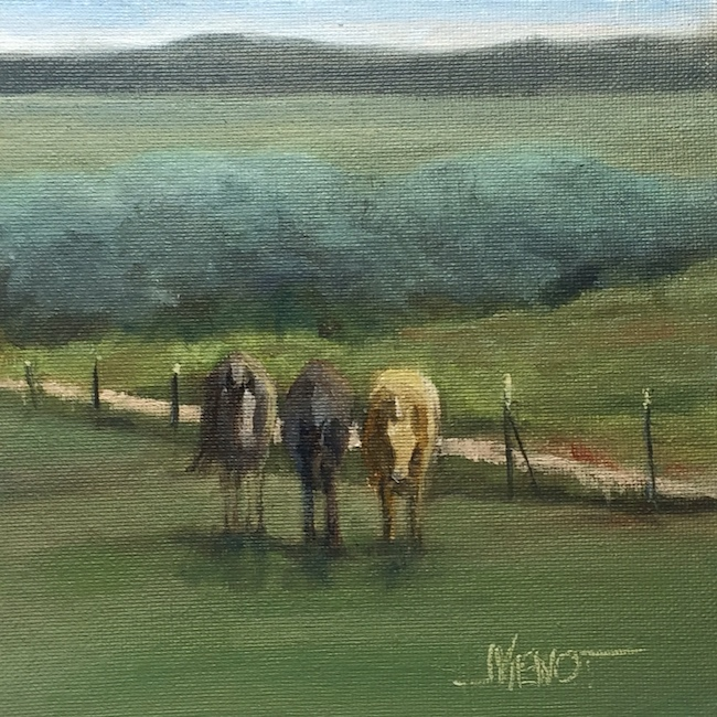 Oi painting of 3 horses in a fenced meadow, Taos Valley, NM