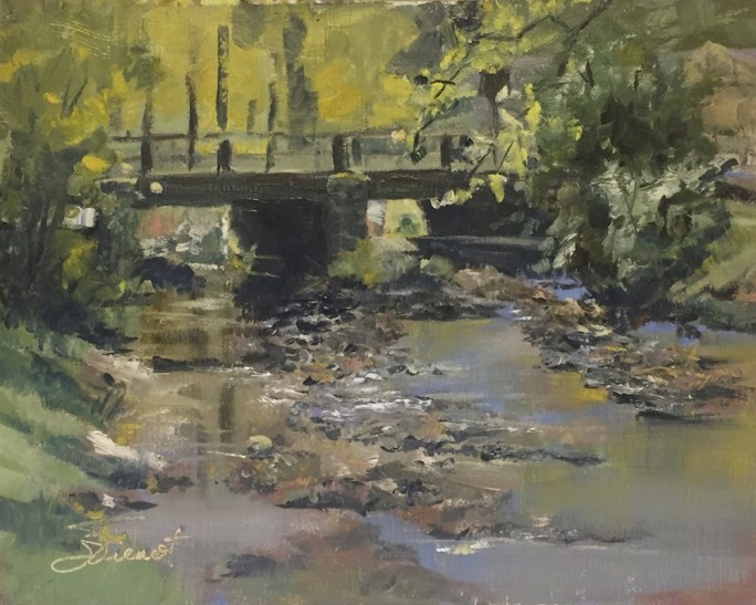 Oil painting of the bridge at Vogle State Park, with the rocky, reflective creek underneath early autumn colors