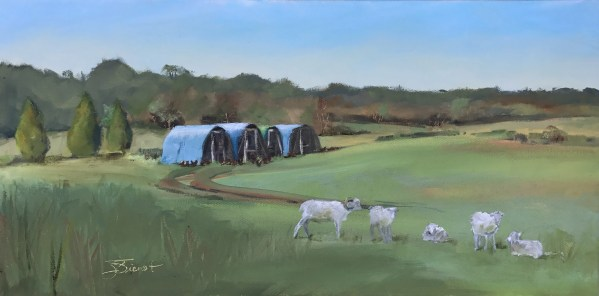 Oil painting of the chicken sheds, chickens, sheep, and rolling fields at Twin Oaks Farm in Bonifay, FL, painted en plein air