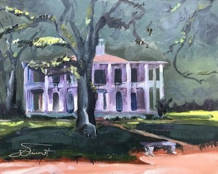 Oil painting of the mansion at Eden Gardens State Park in Pt. Washington, FL, painted en plein air