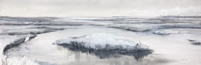 Oil painting of the marsh at Salinas Park, Cape San Blas, Port St. Joe, FL, painted en plein air in black, white, and gray