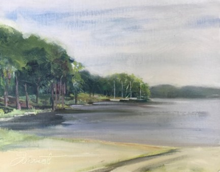 Oil painting of the lake at Lincoln Park in Niceville, FL, with the muted colors of a cloudy day
