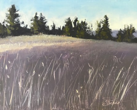 Oil painting of the first light of dawn coming over the mountain to kiss the grassy hill at Green Bear Ranch, Eureka, MT