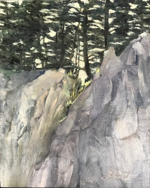 Oil painting of the cliffs at Sleepy Hollow Park, with backlit trees and grasses