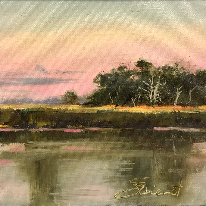 Oil painting of the sunset colors over Scipio Creek