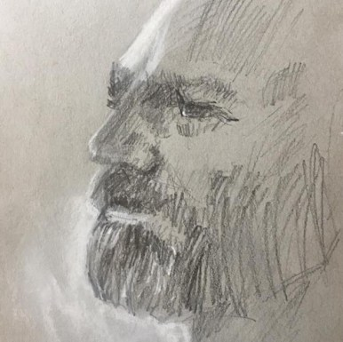 Pencil and nupastel sketch of David Boyd at Plein Air South, Apalachicola, FL, 2017