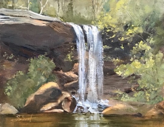 Oil painting of Deer Leap Falls near Dawsonville, Georgia