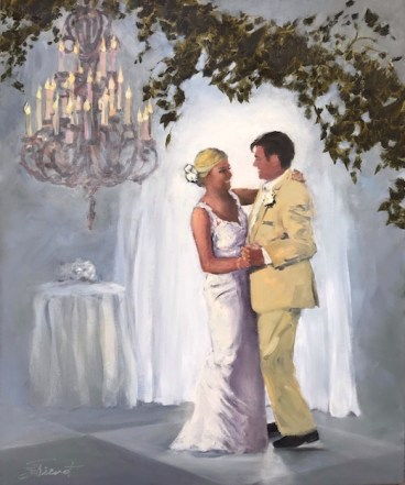 Oil Painting of Brian and Megan Robertson's First Dance