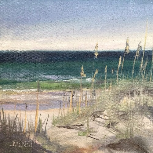Oil painting of the dunes and water of the Gulf of Mexico at Henderson Beach State Park, Destin, FK