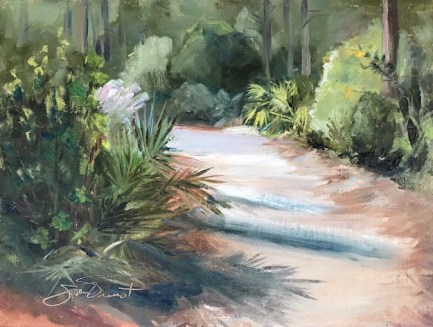 Oil painting of the Nature Trail at water sound Origins, Panama City Beach, FL