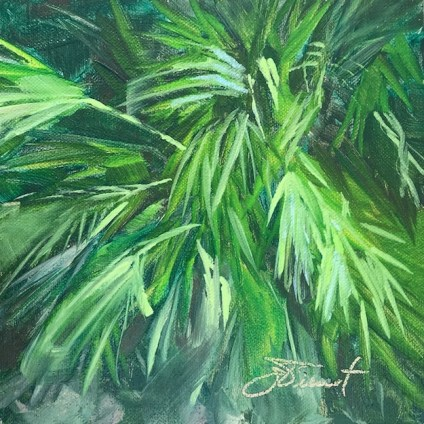 Oil painting study of a palmetto bush