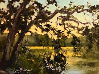 Oil painting of the dawn glow on Black Creek, painted en plein air