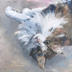 Oil painting of sweet cat looking up, upside-down