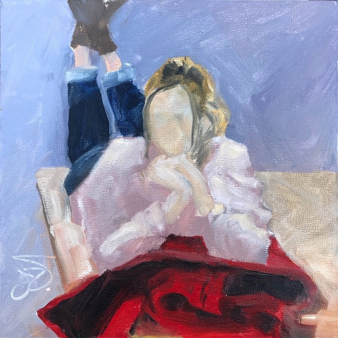 Oil painting of female clothed figure prone propped on elbows on red jacket, painted from live model, part of 30 Paintings in 30 Days Challenge