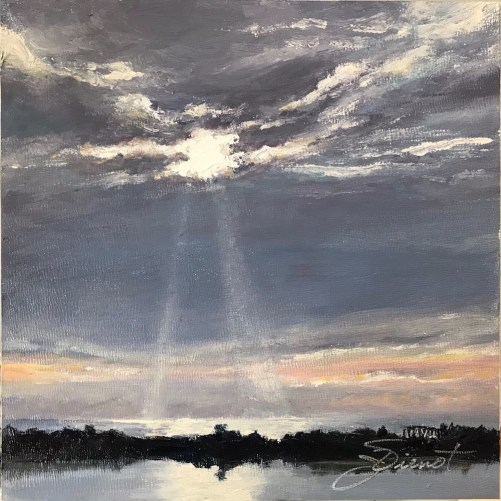Oil painting of Lake Powell and the Gulf of Mexico, including the old Camp Helen pier, with the sun shining rays through the clouds