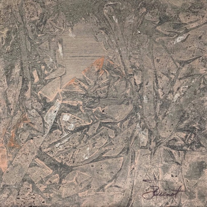 Acrylic painting using Saran wrap technique, resulting in nonrepresentational piece subtly resembling a rocky forest