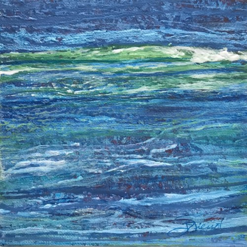 Acrylic painting of patterned stripes resembling waves in the Gulf of Mexico on the Emerald Coast