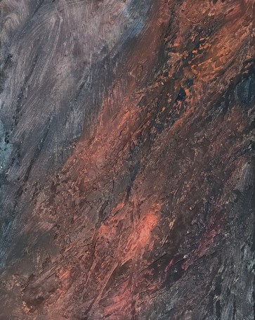 Acrylic/mixed media painting, highly textured, earth colors, Jan Sitts workshop