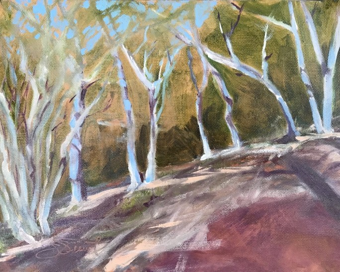 Oil painting of the trees on the hillside over Chula Vista Bayou in Ft. Walton Beach, FL