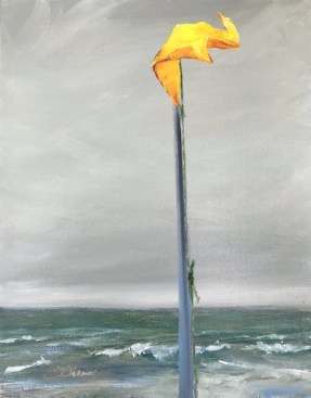 Oil painting of yellow beach flag on pole with stormy gray sky and waves in background, on St. George Island, FL