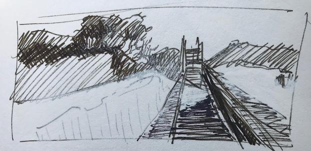 Ink sketch, study for Shifting Sands, St. George Island, FL