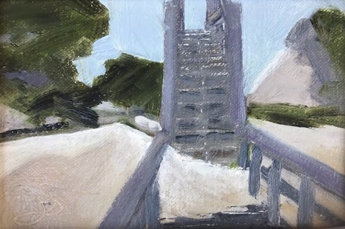 Old painting study for Shifting Sands, showing sand drifting over a boardwalk on St. George Island, Florida