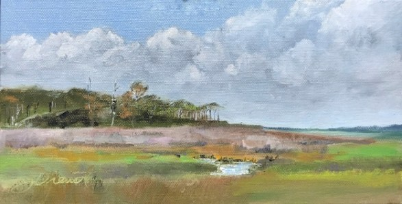 Oil painting of the marsh at the kayak and canoe launch on Cape San Blas, Port St. Joe, FL