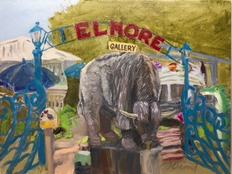 Oil painting of Joe Elmore's Bison sculpture, in a plein air composite including multiple facets of Elmore's Landing