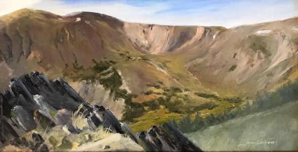 Oil painting of the glacial cirque near Fall River Pass, just below the Alpine Visitors Center, Rocky Mountain National Park, near Estes Park, Colorado