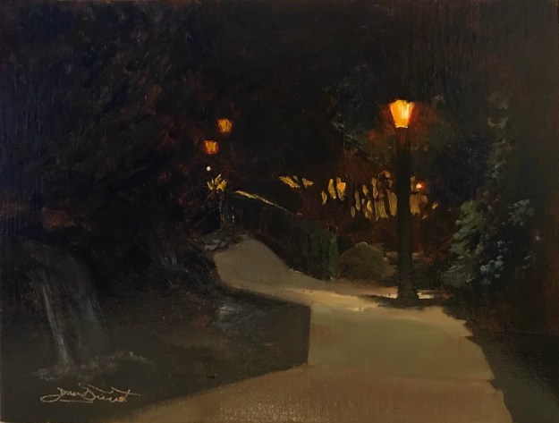 Nocturne oil painting of the south entrance to Riverwalk Park / Riverside Plaza in Estes Park, Colorado