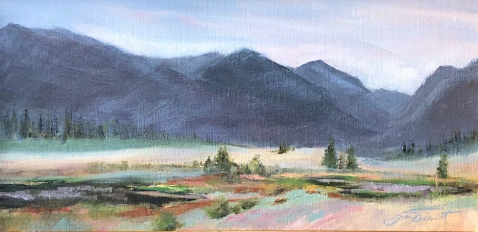 Oil painting of Sheep Lakes in Fall River Valley near Estes Park, Colorado
