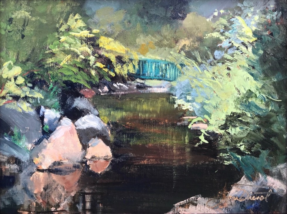 Oil Painting of the bridge over the creek at Riverwalk Park in Estes Park, Colorado