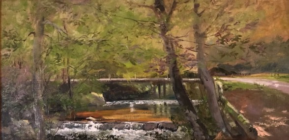Oil painting of the creek flowing through the Taccoa Valley Campground to the Taccoa River in Fannin County, GA