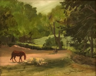 Oil painting of two horses and two goats on Chris Tilghman's farm in Blue Ridge, Georgia