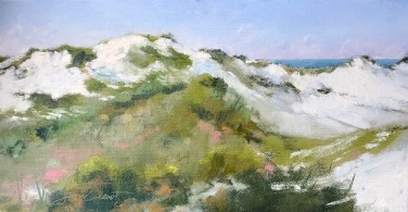 Oil painting of the dunes at Henderson Beach State Park, Destin, FL, painted en plein air.