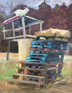 Oil painting of a goat on top of the climbing stack of pallets and shed at Sweet Creek Farm Market
