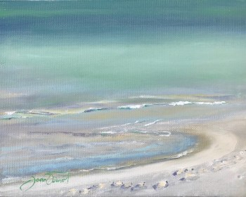Oil painting studying the colors of the Gulf of Mexico on the Emerald Coast, Grayton Beach, FL