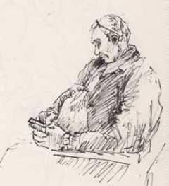 Airport Sketch, Man Texting