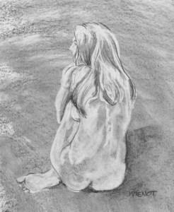 Erased Value Study, Female on One Hip, Away