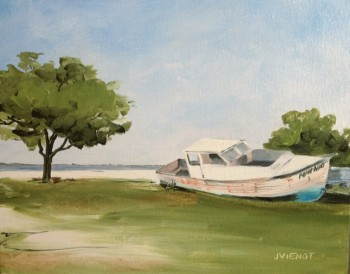 "Oil Painting of Old Boat ""Pompano"", Nick's Restaurant, Basin Bayou, FL"