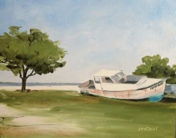 "Oil Painting of Old Boat ""Pompano"", Nick's Restaurant, Basin Bayou, FL"
