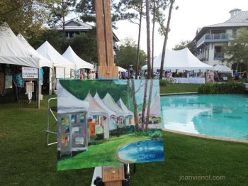 Oil painting in process, showing tents at ArtsQuest 2013