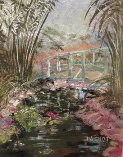 Oil painting of the bridge over the coy pond at Grayt Grounds of Monet Monet