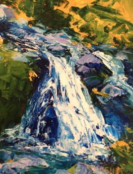 Oil painting of a cascading waterfall, painted with palette knife, in Julie Gilbert Pollard workshop